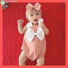 Sét đồ Jumpsuit cho bé gái, trẻ sơ sinh màu hồng(turban+body+giày vải)