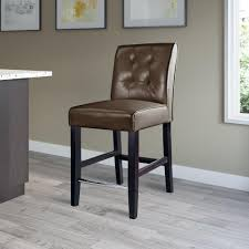 counter height dark brown bonded leather bar stool