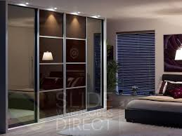 Interior: Awesome 4 Panels Glass Sliding Wardrobe Doors For Modern Bedroom  - Bedroom Wardrobe Sliding