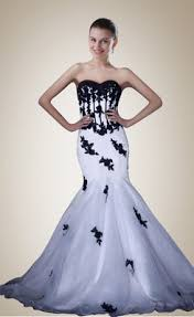 buy formal sweetheart applique mermaid white and black wedding