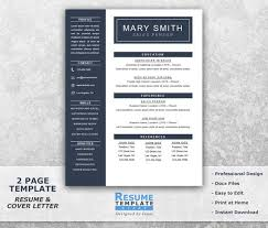 Cover Page Template Word One Page Resume Template Word Resume Cover Letter Templates Etsy