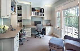 gray home office. Gray Home Office Design Ideas With A Built-in Desk And Shelves