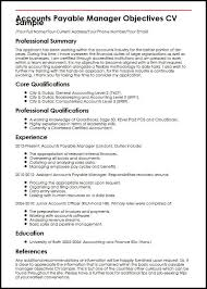 Accountant Skills Resumes Accounts Payable Manager Objectives Cv Sample Myperfectcv