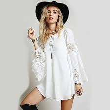 ... Boho Chic Dress Bohemian Flare Sleeve Lace Patchwork Dress - Date Dress  Ideas - Hippie BLiss ...