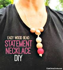 make a colorful wood bead statement necklace diy homemade jewelry