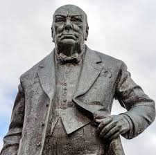 a photo of a sculptor of the politician winston churchill