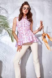 Mood By Designer Skin Beautiful Sexy Model Woman Wear Fashion Clothes Stylish Blouse