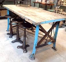 vintage factory furniture. Unique Furniture Reclaimed Wood Dining Table With Metal Legs 2017 Steel And Furniture Vintage  Worktable Blue Images Throughout Factory J