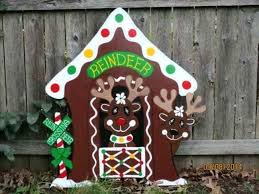 diy wooden yard decorations wood gingerbread reindeer stable outdoor decor