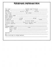 basic personal information form english worksheets personal information worksheets page 125