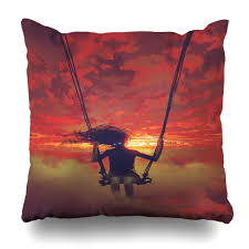 Painted Sky Designs Swings Amazon Com Artmall Throw Pillow Case Sky Red Surreal
