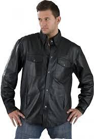 men black leather shirt
