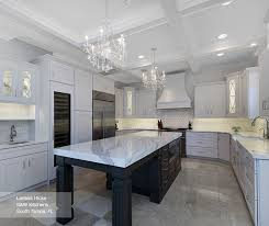 laroche kitchen cabinets in maple pure white with dark grey island in cherry smokey hills