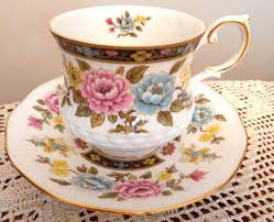 Decorative Cups And Saucers QUEENS CATHAY fine bone china ROSINA england CUP SAUCER FOOTED 31