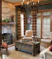 Plaid Curtains For Living Room Impressive Plaid Curtains Decorating For Living Room Traditional