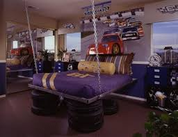 astounding teen bedroom with floating purple bed furniture plus car tires decoration in ceramic floor also extra large standing mirror in the corner bedroom furniture inspiration astounding bedrooms