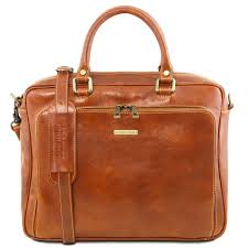 leather laptop briefcase with front pocket
