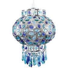 traditional moroccan bazaar chrome plated chandelier ceiling light pendant shade with beautiful blue purple coloured
