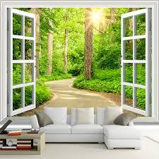 <b>Custom 3D Photo Wallpaper</b> Green Sunshine Forest Road Window ...