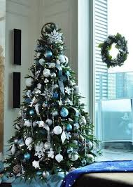 blue, white and silver Christmas tree decor