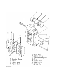 Fig 17 exploded view of 4 piston caliper assembly 3000gt awd