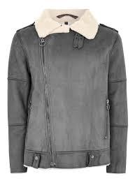 topman men s gray grey faux shearling biker jacket