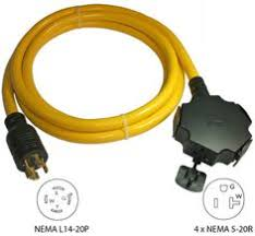 20ft l14 30p to l14 30r locking generator cord draw 30amps from conntek 20500 010 10ft 20a 4 prong generator outlet splitter 4x