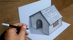 How To Make House With Chart Paper Trick Art Drawing 3d Tiny House On Paper