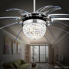invisible crystal light ceiling fans modern led crystal parlor ceiling fans lamp crystal chandeliers lighting with remote control 42 inch by
