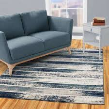 jasmin collection stripes design ivory and navy 8 ft x 10 ft area rug