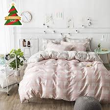 oroa pink white gingham duvet cover set