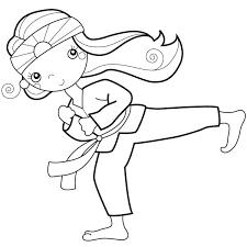karate coloring page kid doing palm heel kick girl pages karate coloring page