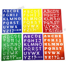 6designs stencils kids capitall alphabet letter drawing templates children educational hot toys plastic painting board277x215mm