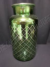 details about pottery barn everett green etched mercury glass vase pb handblown holiday large