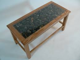 glass display stone top coffee table image and description