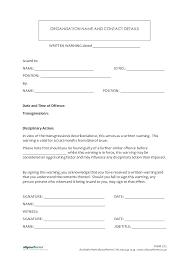Written Warning Template For Attendance Employee Verbal