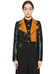 lanvin le patent leather crop biker jacket black brown mta1 women clothing lanvin jackets best