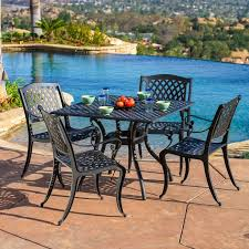 hampton bay walnut creek durawood patio dining table. outdoor cayman 5-piece cast aluminum black sand dining set by christopher knight home hampton bay walnut creek durawood patio table e