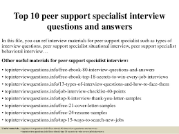 Cover Letter For Peer Support Specialist Top 10 Peer Support Specialist Interview Questions And Answers