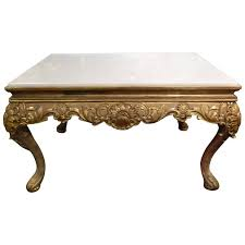 italian louis xv style giltwood coffee table with a marble top 19th century for