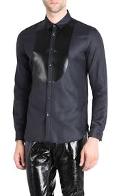 just cavalli shirt with faux leather plastron long sleeve shirt man f