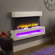 our wall mounted electric fires are available in a choice of colour and design with remote controlled 1 and 2kw heat output led realistic flame effect