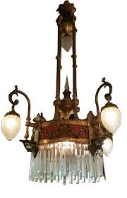 antique brass chandelier with cut crystal bowls