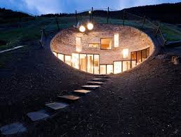 buried house, Daylighting, earth house, Eco Architecture, grass covered  house, grass