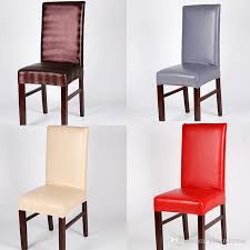 waterproof pu dining chair covers solid elastic stretch faux leather chair cover universal home restaurant chair covers affordable chair covers chair
