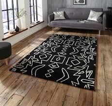 black white modern tribal rug 100 wool monochrome