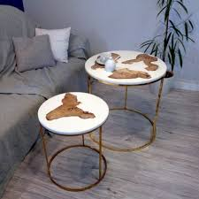 small round coffee table made of