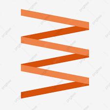 Vector Orange Folding Ribbon Cartoon Material Download