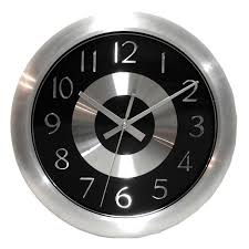 White Kitchen Wall Clocks Mercury Black 10 Inch Black Polished Aluminum Wall Clock Free