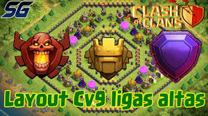 Layout Push Cv9 Para Campe O Tit Lend Ria Clash Of Clans Youtube